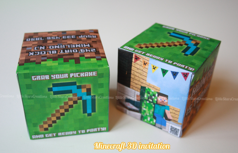 Invite your friends to your birthday party Minecraft in the most original way ! With Minecraft 3D cube that includes your personal details for you to ...